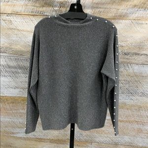 Funnel neck metallic sweater w crystal button trim